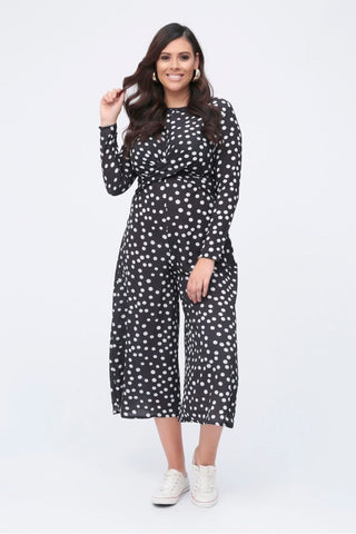 Plus Ivy Twist Front Culotte Polka Dot Jumpsuit