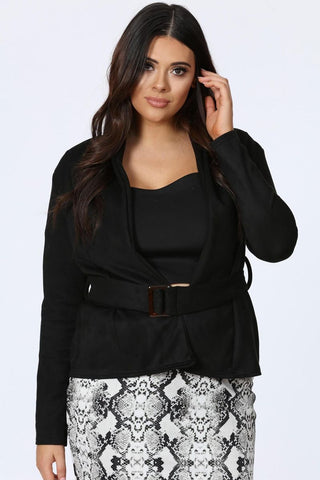 Plus Roxanne Suedette Biker Black Jacket