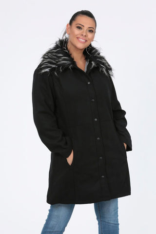Plus Skye Faux Fur Collar Coat In Black