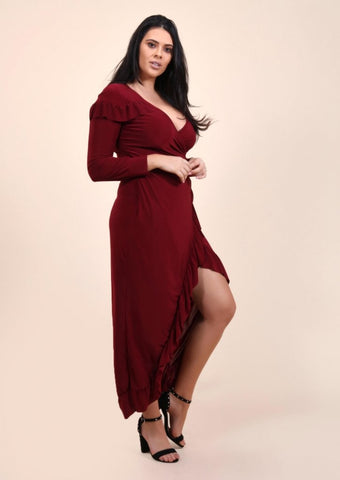 Plus Siobhan Wrap Ruffle Midi Dress in Wine