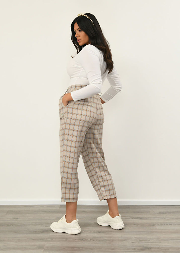 Pink Clove Stone Checked Pocket Detail Trousers view 3