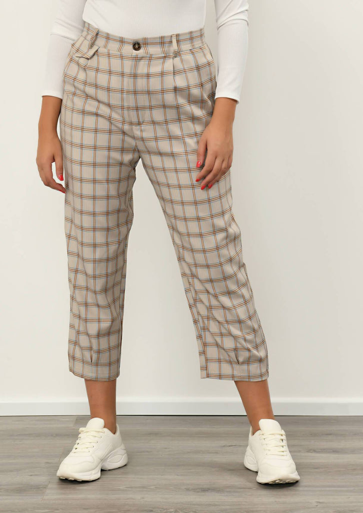 Pink Clove Stone Checked Pocket Detail Trousers view 4