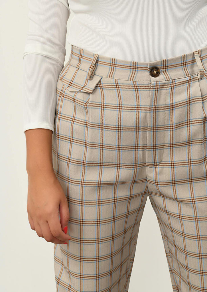 Pink Clove Stone Checked Pocket Detail Trousers view 5