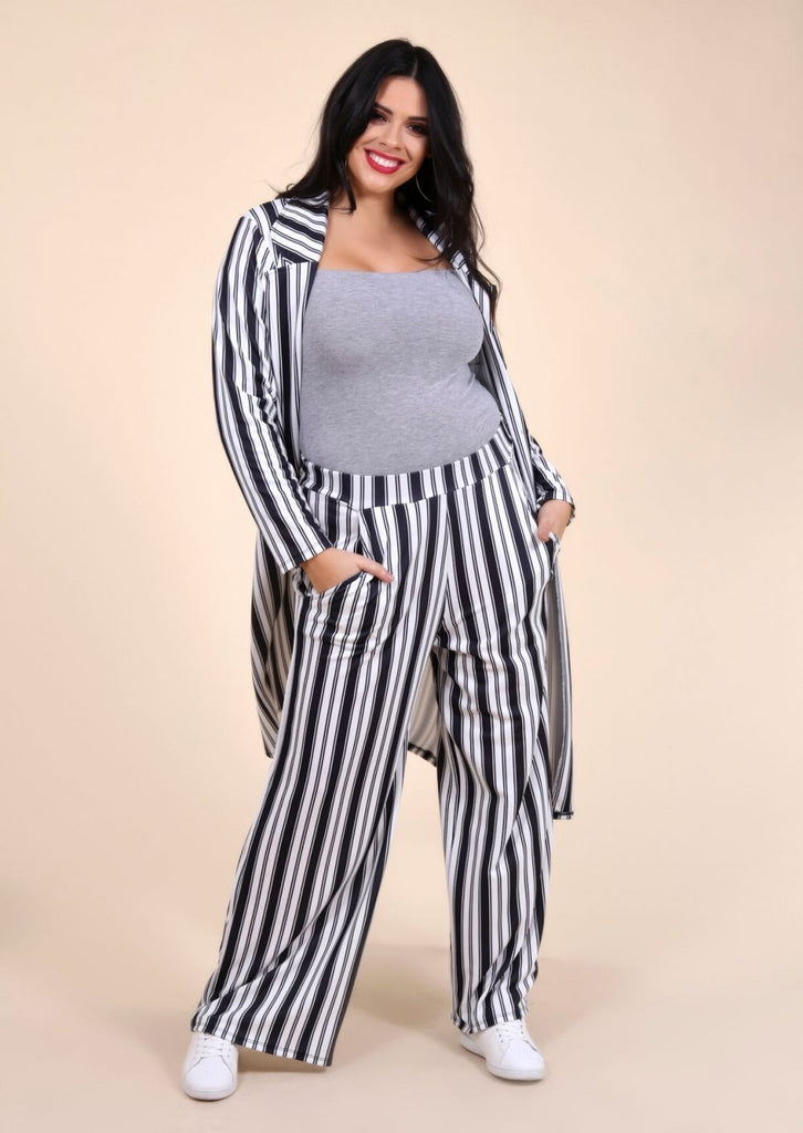Plus Size Wide Leg Stripe Trouser in Black and White view 2