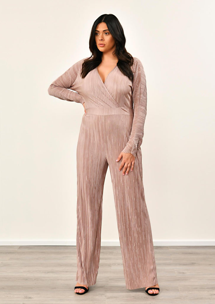 Pink Clove Mocha Long Sleeve Wrap Pleated Jumpsuit view main view