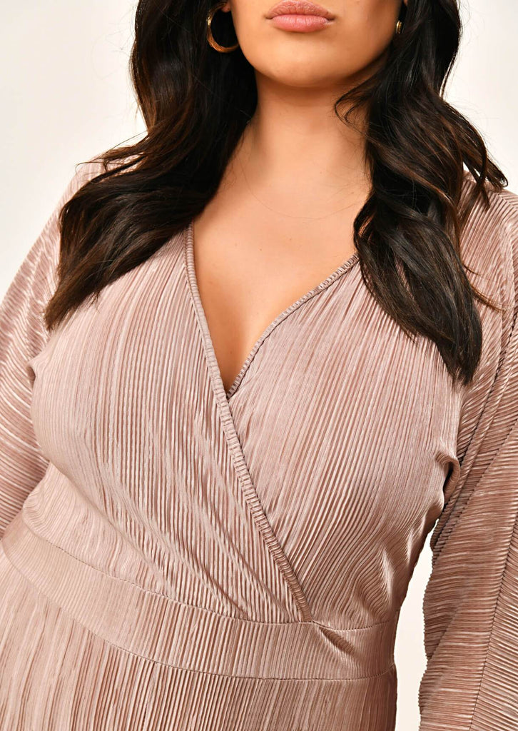 Pink Clove Mocha Long Sleeve Wrap Pleated Jumpsuit view 2