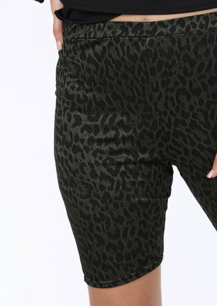 Plus Size Green Leopard Print Cycling Shorts view 5