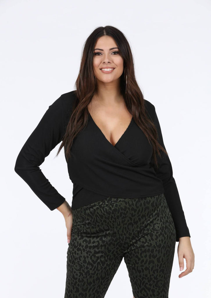 Plus Vera Wrap Rib Top In Black view 2