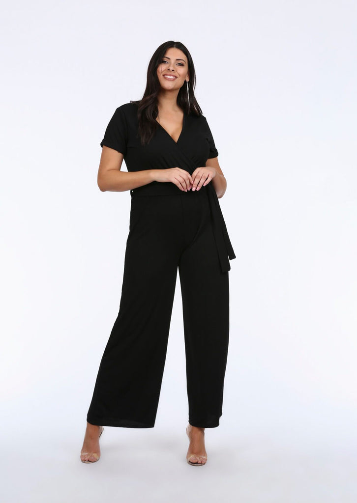 Plus Size V Neck Wide Leg Wrap Black Jumpsuit