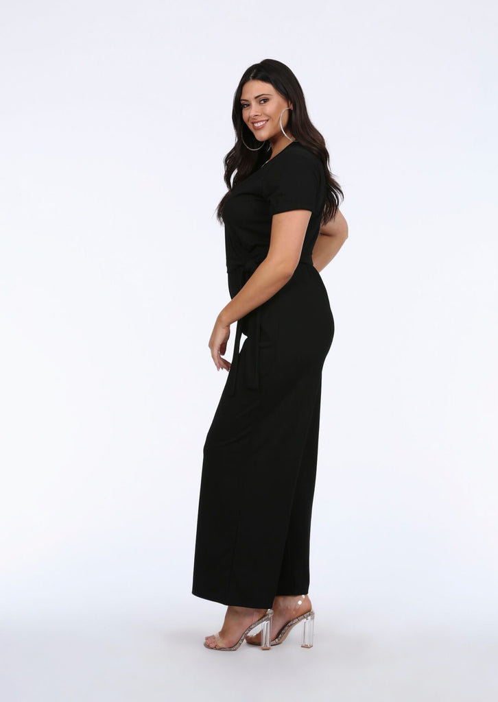 Plus Size V Neck Wide Leg Wrap Black Jumpsuit view 2
