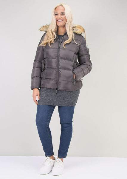 Plus Size Belted Puffer Coat in Grey Faux Fur Hood