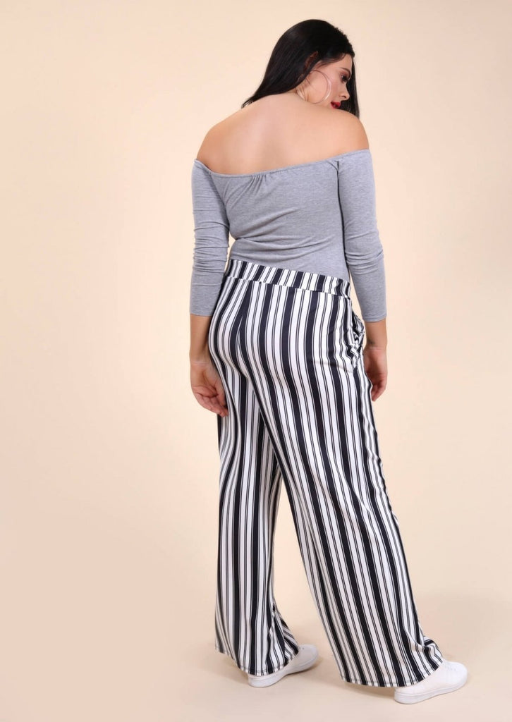 Plus Size Wide Leg Stripe Trouser in Black and White view 3
