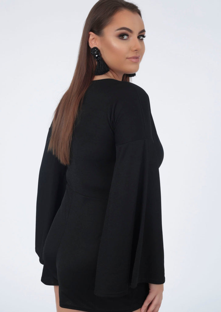 Plus Tessa Kimono Sleeve V Neck Playsuit in Black