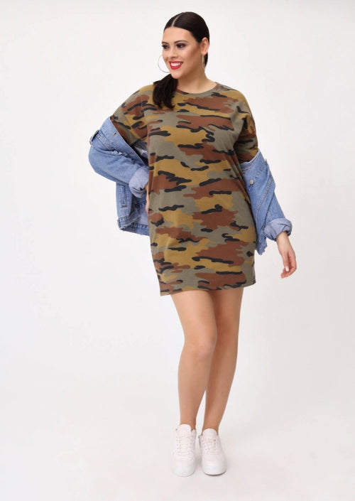 Plus Natalie Camouflage Sweat Dress in Khaki