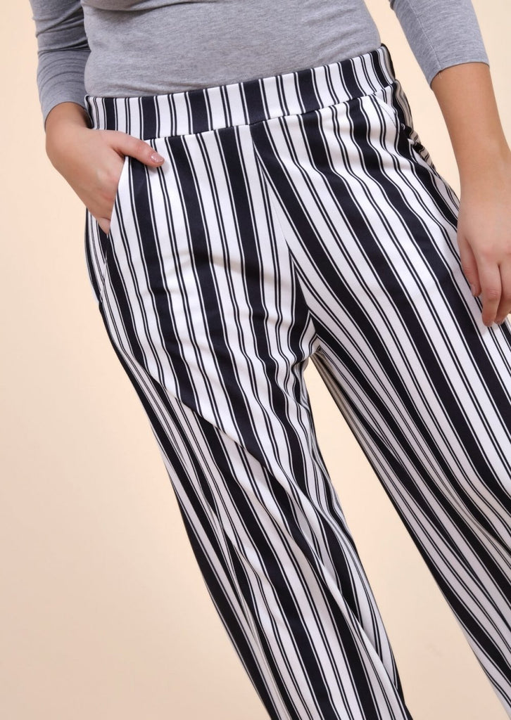 Plus Size Wide Leg Stripe Trouser in Black and White view 4
