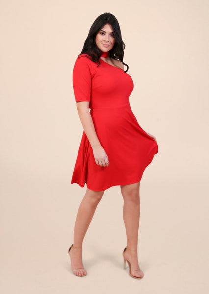 Plus Marnie Asymmetric Shoulder Cut Dress in Red