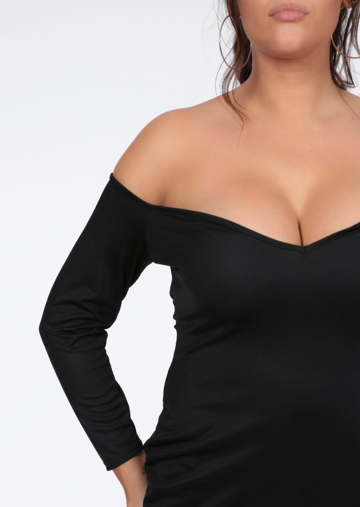Plus Eve Bardot Bodycon Black Dress view 5