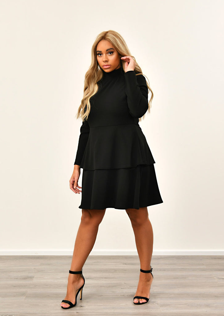 Black High Neck Ruffle Smock Dress 1 view main view