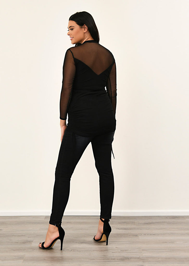 Black Mesh Overlay Bodycon Dress 4 view 4