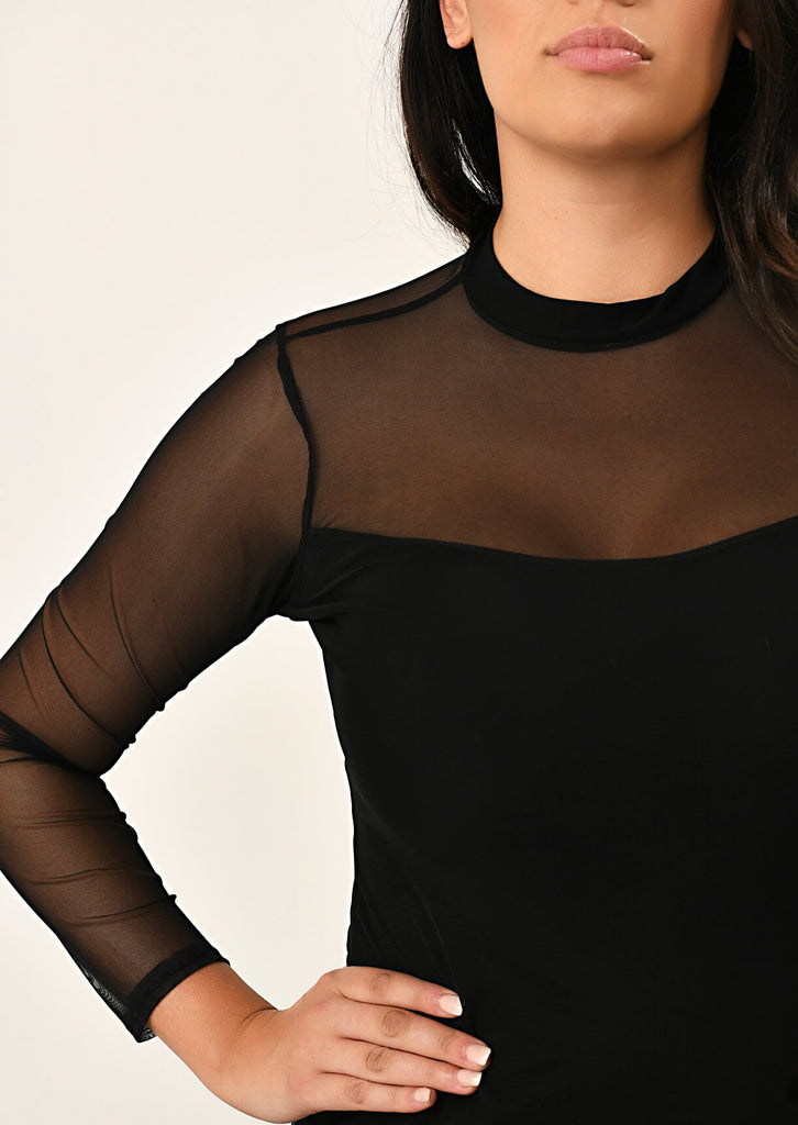 Pink Clove Black Mesh Overlay Bodycon Dress view 5