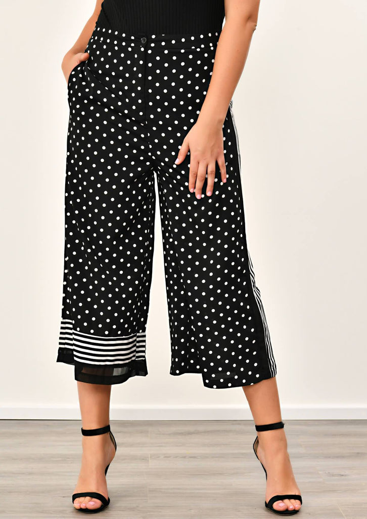 Black Polka Dot Stripe Wide Leg Trousers 4 view 4