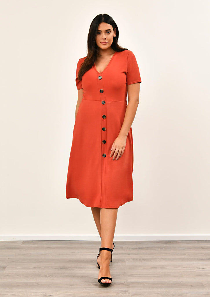 Rust Short Sleeve Midi Dress 3 view 3
