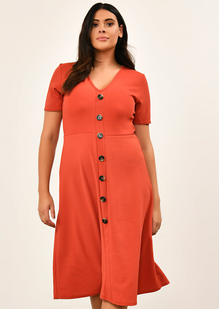 Rust Short Sleeve Midi Dress 1