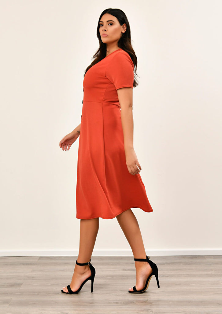 Rust Short Sleeve Midi Dress 4 view 4