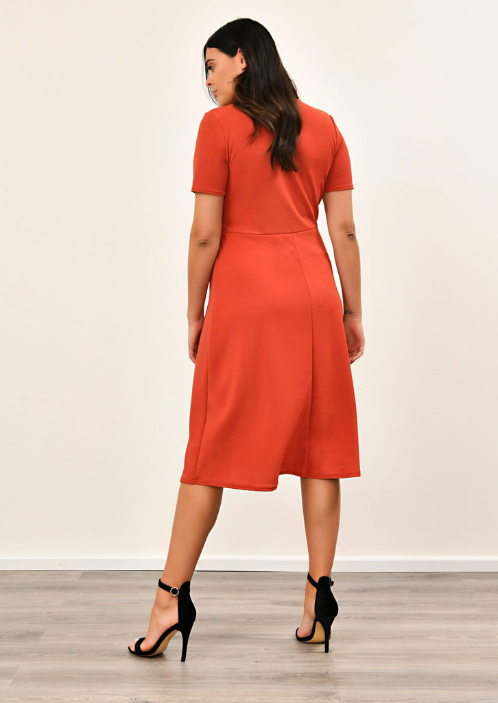Rust Short Sleeve Midi Dress 2 view 2