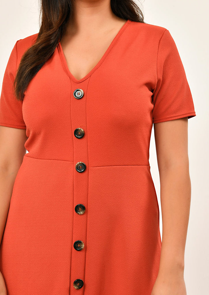 Rust Short Sleeve Midi Dress 5 view 5