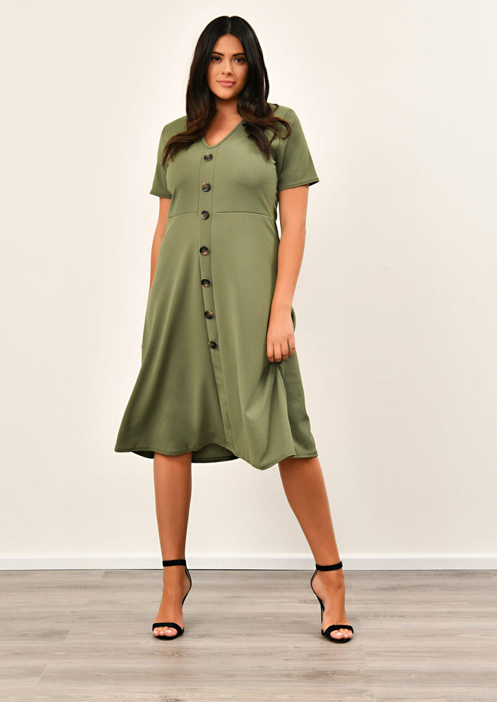 Khaki Short Sleeve Midi Dress 3 view 3