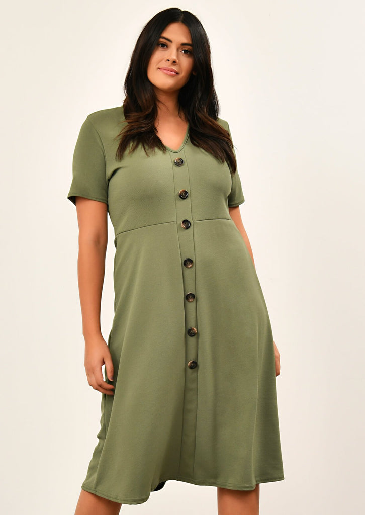Khaki Short Sleeve Midi Dress 1