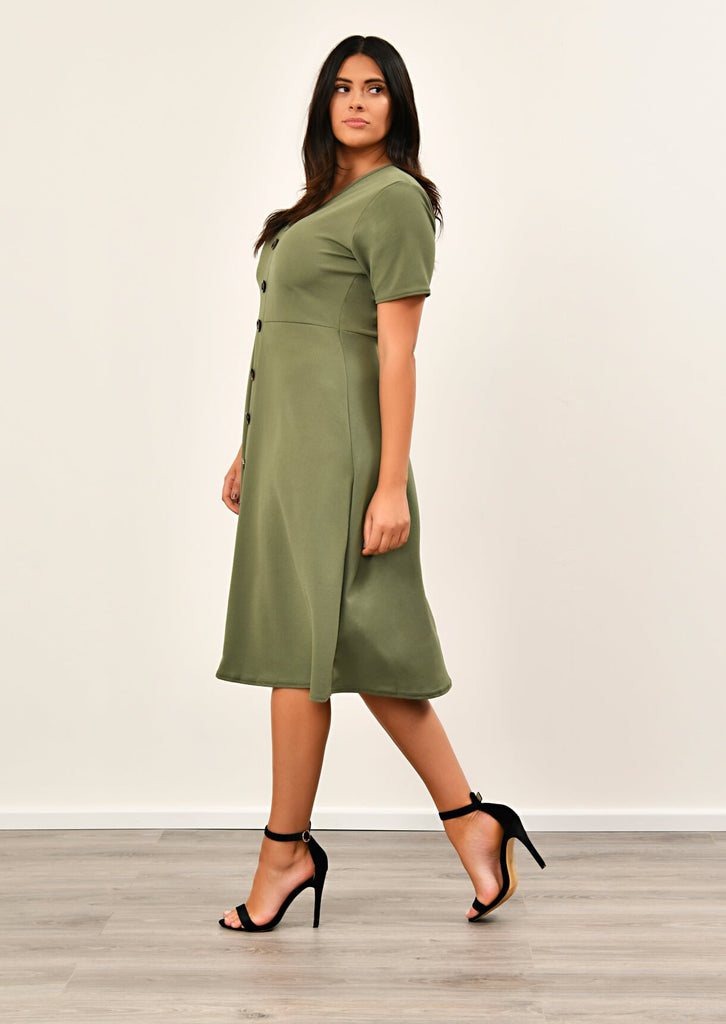 Khaki Short Sleeve Midi Dress 4 view 4