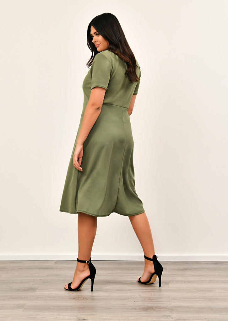 Khaki Short Sleeve Midi Dress 2 view 2