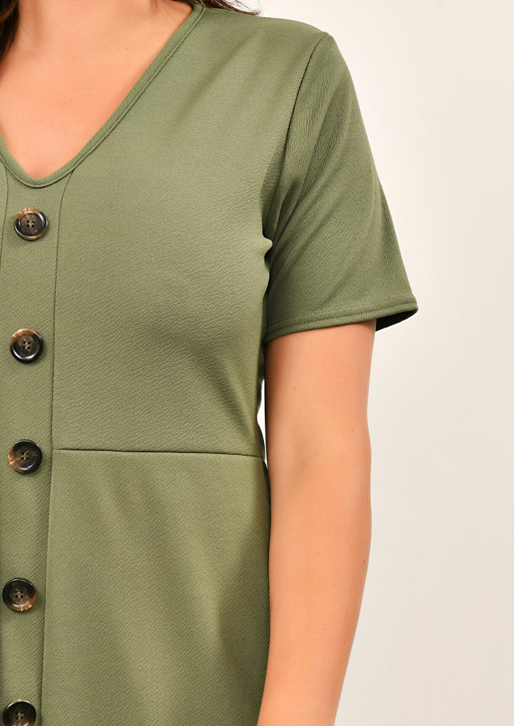 Khaki Short Sleeve Midi Dress 5 view 5