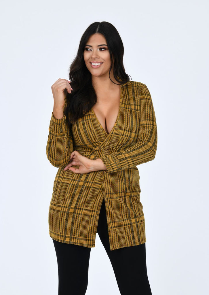 Plus Size Mustard Check Wrap Long Sleeve Dress view main view