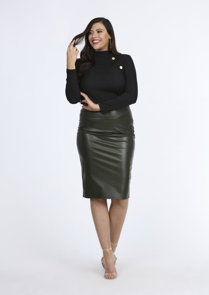 Plus Size Khaki PVC Babette Midi Skirt view main view