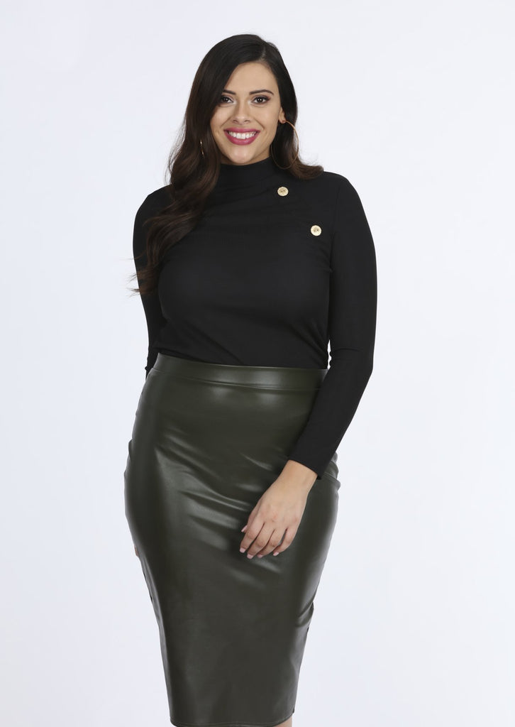 Plus Size Khaki PVC Babette Midi Skirt view 4