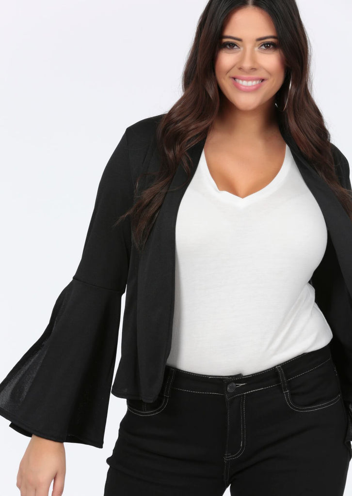 Plus Size Slit Bell Sleeved Black Jacket view main view