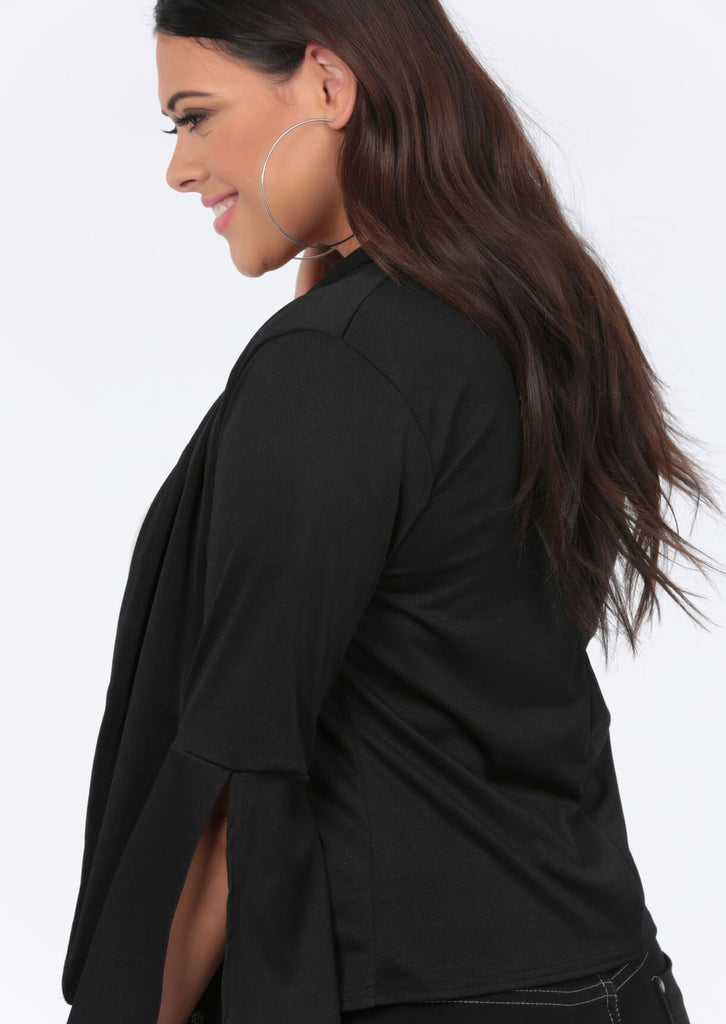 Plus Size Slit Bell Sleeved Black Jacket view 2