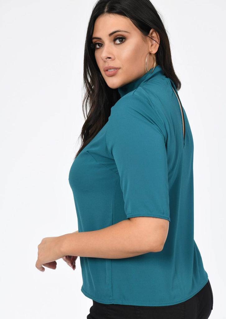 Pink Clove High Neck Short Sleeve Top in Teal view 2