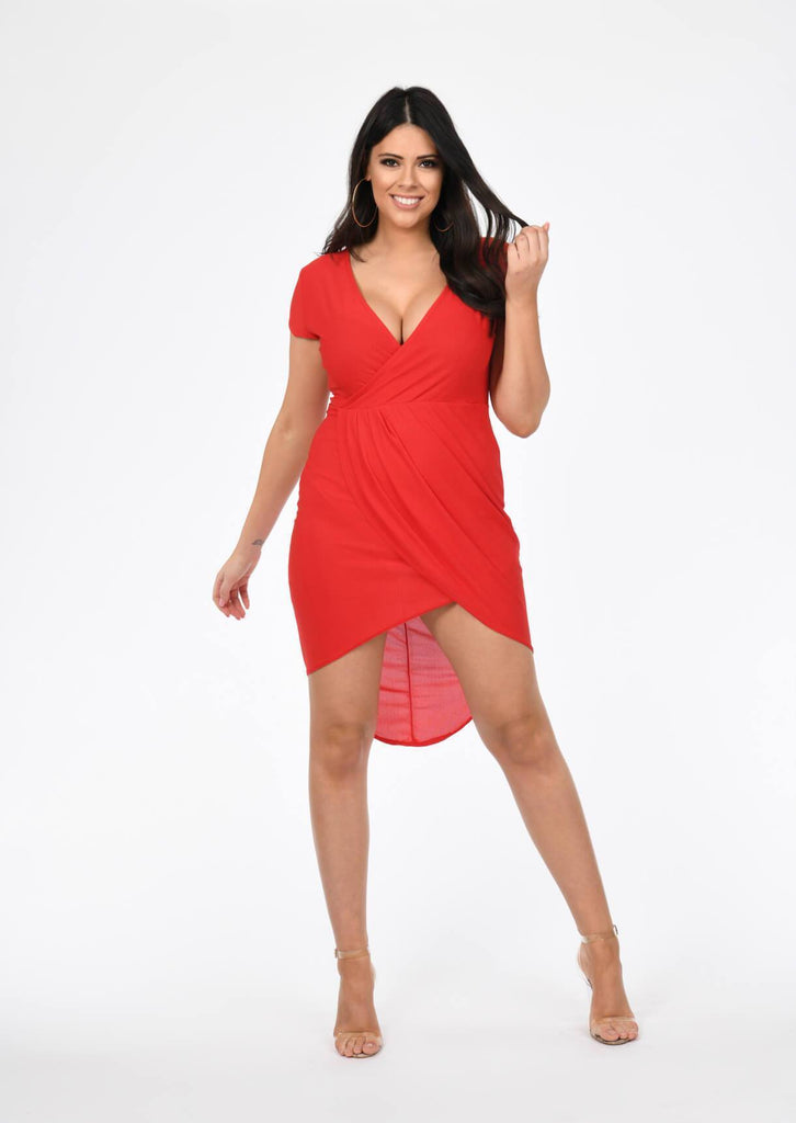 Plus Size Red Short Sleeve Wrap Pleated Dress view 2