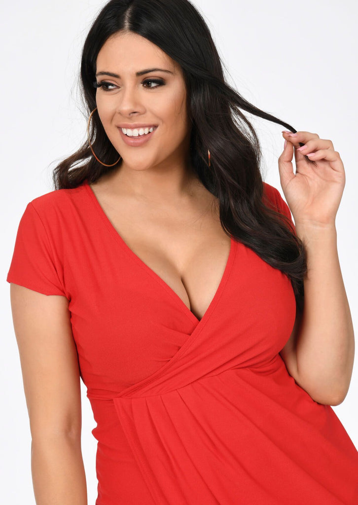 Plus Size Red Short Sleeve Wrap Pleated Dress view 3