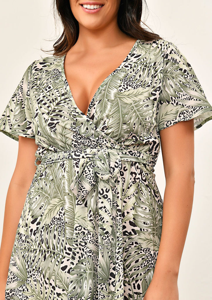 Green Leaf Short Sleeved Hi-Lo Hem Dress 5 view 5