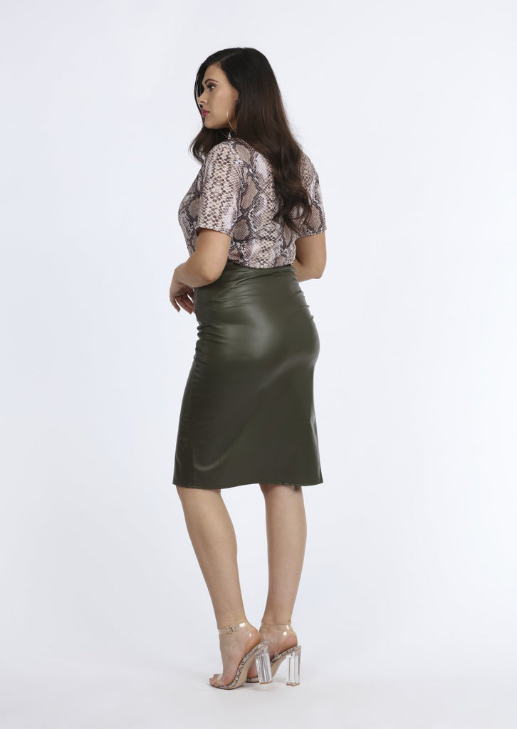 Pink Clove Khaki PVC Gathered Wrap Skirt view 2