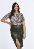 Plus Size Khaki PVC Gathered Wrap Skirt