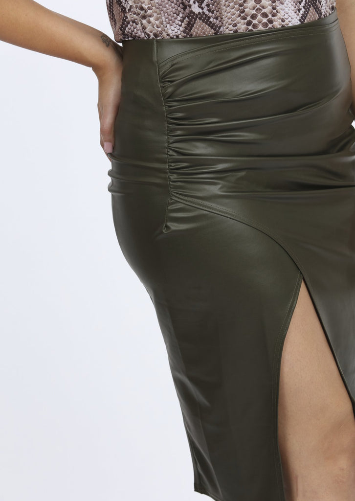 Plus Size Khaki PVC Gathered Wrap Skirt view 3