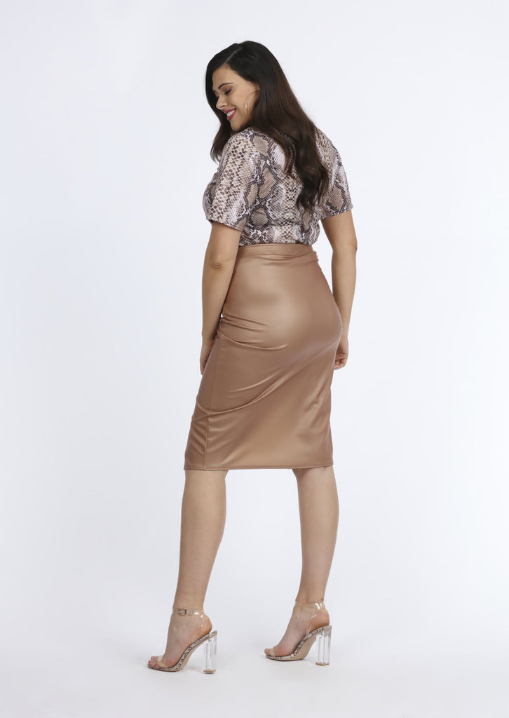 Pink Clove Stone PVC Gathered Wrap Skirt view 3