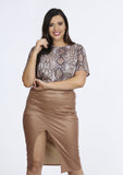 Plus Naila Stone PVC Gathered Wrap Skirt