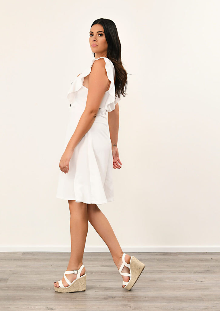 Pink Clove Cream Ruffle Skater Dress view 2
